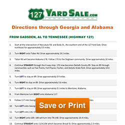 Directions Through Georgia and Alabama | 127 Yard Sale